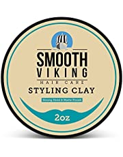 Hair Styling Clay for Men – Pliable Molding Cream with Matte Finish – Product for Textured, Thickened & Modern Hairstyles – Shine Free – 2 OZ – Smooth Viking