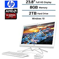 2018 Newest Flagship HP 23.8 AIO Full HD All-in-One Desktop, 8 GB DDR4 SDRAM, AMD A9-9400 Processor 2.4 GHz, 2TB HD, Windows 10 W/Optical Drive, Keyboard and Mouse (Snow White)