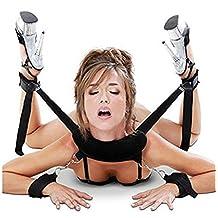 Mcupper-New Bondage Kit Fetish Bed Restraint Cuffs Collar Adult Sex Toy Set Kinky Restaints (Black)