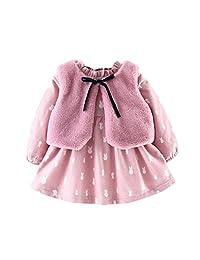 Goodtrade8 Toddler Baby Girl Long Sleeve Princess Dress + Winter Waistcoat