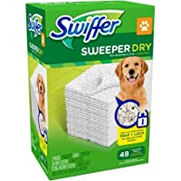Swiffer Sweeper Dry Sweeping Cloths Traps Pet Hair, 48 Unscented Refills (Pack of 2)