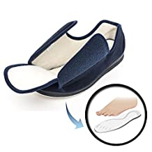 Creation Comfort Men's Memory Foam Slippers with Velcro Slip-On Tabs (Wide) -Lightweight & Portable for House, Travel or Airplane Comfort - Non-Skid Bottom