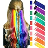 Fashion Girls Hair Accessories Clip In/On Colored Hair Extension For Amercian Girls And Dolls Rainbow Color Wig Pieces for kids Party Hihlights 9PCS