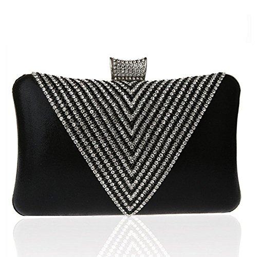Covelin Women's Handmade Handbag Rhinestone Beaded Envelope Clutch Evening Bag Black