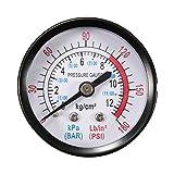 """1/4 BSP Thread 0-180PSI 0-12Bar Air Pressure Gauge For Air Compressor Iron"""""""