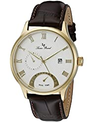 Lucien Piccard Mens LP-10339-YG-02S-BRW Volos Gold-ToneIon-Plated Stainless Steel Watch with Brown Leather Strap
