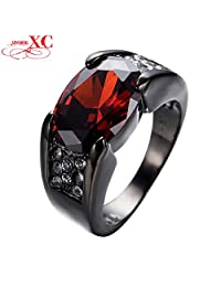 Slyq Jewelry New Ruby Jewelry Black Gold Filled Cubic Zircon Women Men Finger Ring Wedding Retro Vintage Anel RB0457