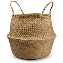 DOKOT Natural Round Seagrass Belly Basket with Handles, Large Storage Laundry Basket Planter