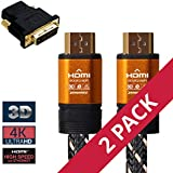 4K HDMI 2.0 Premium Gold Cable 1.5m(5Ft) 4K UHD, 3D, Audio Return Channel(ARC), Ultra HD 2160p, Ethernet, 24K Connector HDTV,Gaming, Blu-Ray, A/V Receiver etc. (2 Pack + HDMI-DVI F/M Adapter)