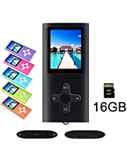 """RHDTShop MP3 MP4 Player with a 16 GB Micro SD Card, Support UP to 64GB TF Card, Rechargeable Battery, Portable Digital Music Player/Video/E-Book Reader, Ultra Slim 1.7"""" LCD Screen-White-on-Black"""