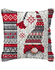 LAPATAIN Latch Hook Kits for DIY Throw Pillow Cover,Needlework Cushion Cover Hand Craft Crochet for Great Family 15.7X15.7inch Christmas Hat