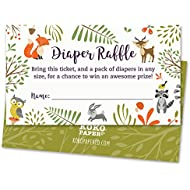Woodland Diaper Raffle Tickets with Owl and Forest Animals...