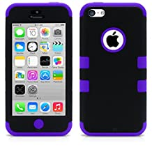 iPhone 5C Case, MagicMobile® Hybrid Impact Shockproof Cover Hard Armor Shell and Soft Silicone Skin Layer [ Black - Purple ] with Free Screen Protector / Film and Pen Stylus