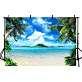 COMOPHOTO Summer Beach Backdrops for Photography 7x5ft Vinyl Blue Sea and Sky Background Palm Trees Photo Background for Photo Booth