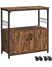 VASAGLE Kitchen Island, Storage Cabinet with Casters, Kitchen Cupboard Storage Organizer, ULSC093B01