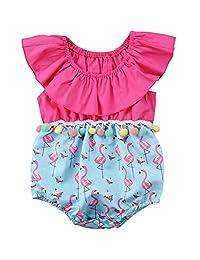 ff32d9c868f1 Annvivi Baby Girls Summer Clothes Off-Shoulder Jumpsuit Pompom Flamingo Romper  Outfit (Pink