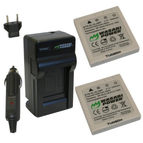 Wasabi Power Battery (2-Pack) and Charger for Pentax D-LI8, D-LI85, D-L18 and Pentax Optio A10, A20, A30, A36, A40, E65, L20, S, S4, S4i, S5i, S5n, S5z, S6, S7, SV, SVi, T10, T20, W10, W20, WP, WPi, X
