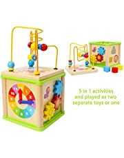 TOWO Wooden Activity Cube Beads Maze -5 Activities in one Roller Coaster Beads Maze - Early Educational Toys for Baby -Educational Wooden Toys for 1 Year Old Montessori Toys