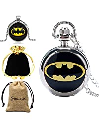 Xmas Gift, The Dark Knight Pocket Watch for Men's, Batman Pendant Pocket Watch for Boy, Necklace Small Silver Chain - Ahmedy