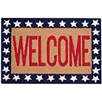 C&F Home Hooked Welcome White & Blue Patriotic Rug, Red