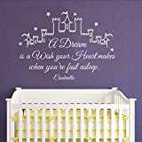 """BATTOO Cinderella Wall Decal Quote A Dream Is A Wish Your Heart Makes- Girl Wall Decals Nursery Wall Decal Kids Girls Bedroom Home Decor(White, 33""""h x46""""w)"""