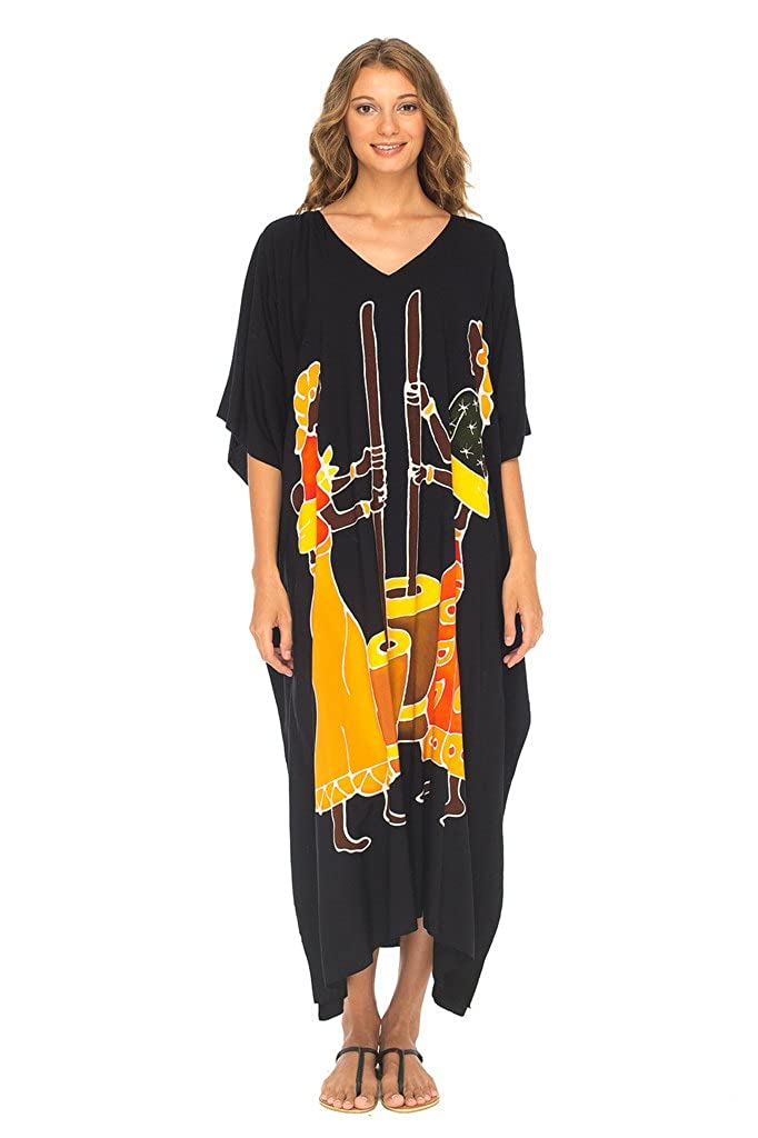 Women Pounding Black SHUSHI Womens Long Caftan Dress Hand Paint Tribal Design Swimwear Cover Up Kaftan