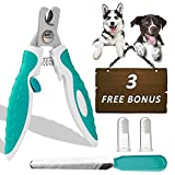 Dog Nail Clippers for Medium and Small Breed, Professional Heavy Duty Dog Nail Trimmer with Quick Sensor and Sharp Stainless Steel Blade, Perfect Home Grooming Tool Set with Free Nail File and Dog Toothbrushes