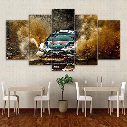 Venta barata GUDOJK Enmarcado Moderno HD Modular Poster Impreso Pintura Lienzo Lienzo Lienzo 5 Panel Racing Car Fly Sand He Decor Oficina Tableau Wall Art Pictures 20x35 20x45 20x55cm  precios bajos todos los dias
