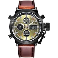 Mens Military Army Analog Watch Field Tactical Sport Wrist Watches for Men Coffee Leather Strap Watch Day Date