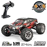 Hosim 1:16 Scale 4WD 36km/h High Speed RC Truck 9130 Remote Control RC Car 2.4Ghz Radio Controlled Off-Road RC Monster Truck RTR Hobby Car Buggy for Kids Adults (Red)