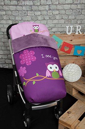 Babyline 002000526 - Saco para silla de paseo, diseno buho, color morado