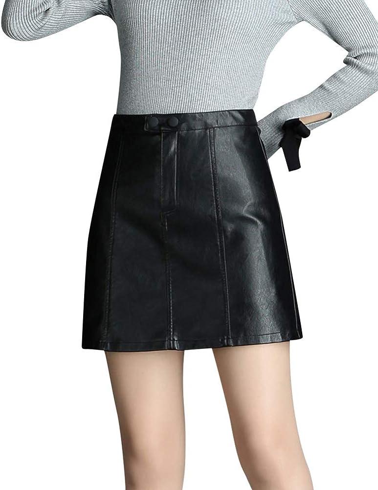 Quge Faldas De Cuero PU para Mujer Mini Falda Corta Lápiz De ...