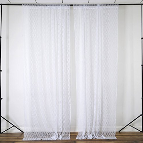 Efavormart 2 PCS 5FT Fire Retardant White Sheer Lace Curtain Panel Backdrop - Premium Collection Collection Light Filtering