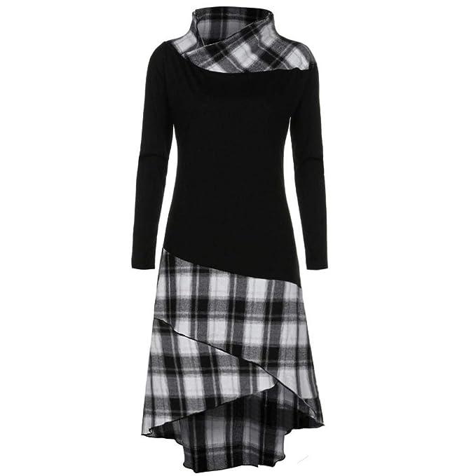 Betrothales Primavera Longshirt Mujer Moda Tops Elegantes Otoño Sweater Cómodo Manga Larga Splice A Cuadros Camisas Irregularmente Streetwear Swag Tendencia ...