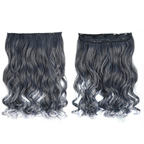[DEESEE(TM) Personalized Trends Grandma Gray Gradient Wig Curls Hair wig (E)] (Making Waves Sailor Costume)