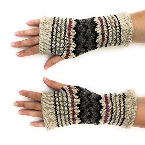 Hand Knit Fingerless Winter Striped Texting Gloves Warm Wool Fleece Lined (Light ()