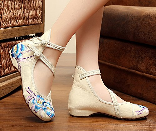 AvaCostume Womens Embroidery Rubber Sole Summer Wedges Sandals Fashion Dress Shoes for Cheongsam, Beige, 38