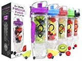 water bottle freezer - Live Infinitely 32 oz. Infuser Water Bottles - Featuring First Ever Gel Freezer Ball Infusion Rod, Flip Top Lid, Larger Dual Hand Grips & Recipe Ebook Gift (Purple Polar Edition, 32 Ounce)