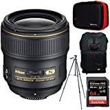 Nikon AF FX Full Frame NIKKOR 35mm f/1.4G Fixed Focal Length Lens + 64GB Accessories Bundle Includes Backpack for Cameras + All-in-1 Cleaning Kit for DSLR Cameras + 60' Video & Photography Tripod