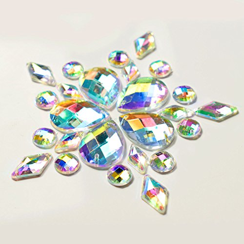 WXJ13 120 Pieces AB Clear Sew On Rhinestones Crystal Buttons 5 Styles 12 Sizes for Cloting Deco, Homemade, DIY Project