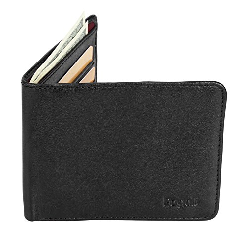 Pagalli Moderno Mens Mans Boys Premium Genuine Handcrafted Leather RFID Blocking Credit Card ID Theft Protector Travel Thin Slim Multi-card Slimfold Bi-Fold Bifold Wallet Wallets, Black ()