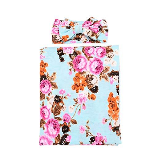 (BQUBO Newborn Baby Receiving Blankets Newborn Baby Floral Swaddling with Headbands or Hats Infant Sleepsack)