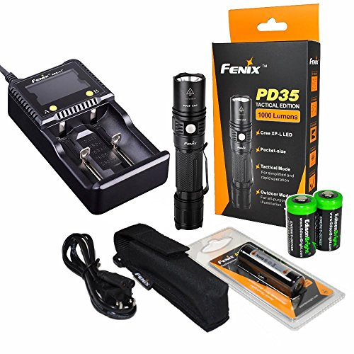 Fenix PD35 1000 Lumen CREE XP-L LED Compact Tactical Flashlight Bundle with EdisonBright 18650 2600mAh Li-ion Rechargeable Batteries and Charger