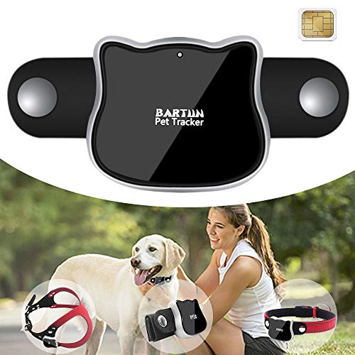 BARTUN Pet GPS Tracker, Real Time Activity Monitor for Dogs Cats WiFi GPS LBS Positioning Tracking Device with Collar Included SIM Card from BARTUN