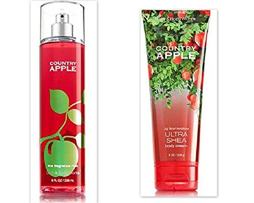 Bath Body Works Country Apple Bundle includes 1-Tube Country Apple Ultra Shea Body Cream, 8 oz 1-Bottle Country Apple Fine Fragrance Mist, 8 oz