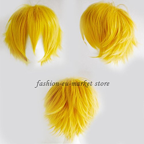Synthetic Short Straight Fluffy Full Wig Oblique Fringe Curly Hair Tail for Anime Cosplay Costume Party for Men / Women (yellow) - Fai Tsubasa Cosplay Costume