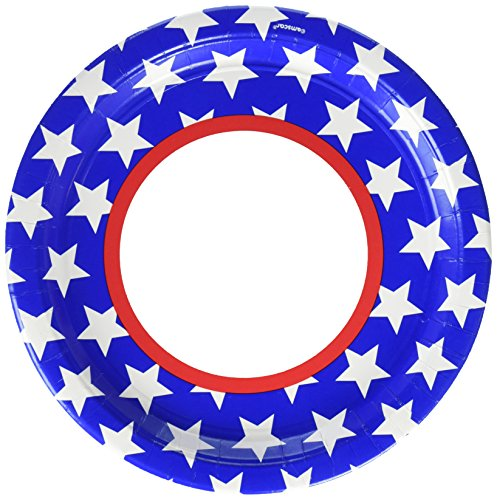 Red, White and Blue Stars Dinner Plates Patriotic 4th of July Party Disposable Tableware, Paper, Round, 10
