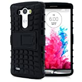 LG G3 Case, MagicMobile® Hybrid Heavy Duty Shockproof Armor Impact Dual Hard Black Plastic Layer and Flexible TPU Skin Cover with Kickstand [Free Screen Protector Film and Stylus]