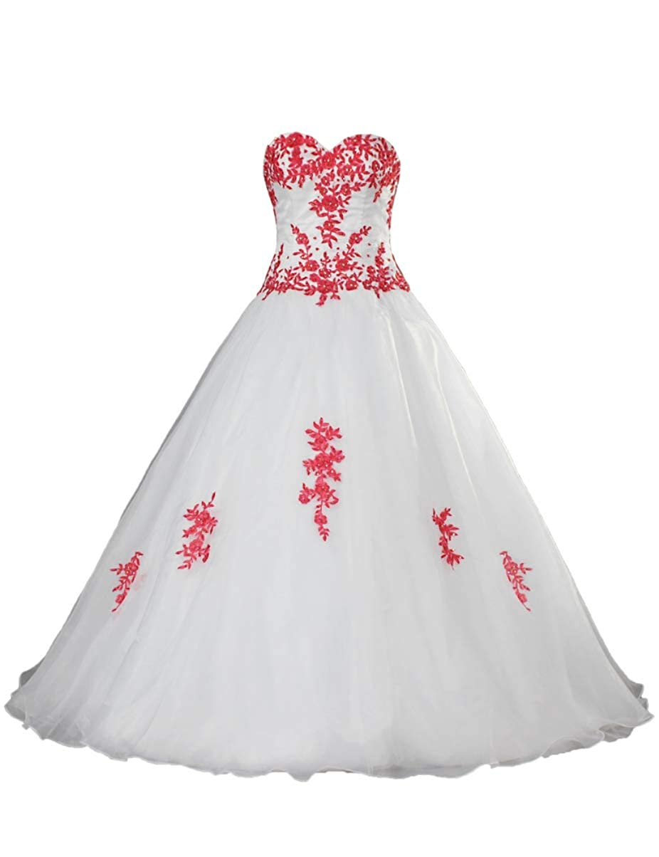 Ants Womens Ball Gown Wedding Dress Organza With Red Lace At Amazon