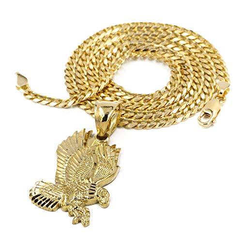 - Raonhazae Solid Brass Gold Diamond Cut Eagle Pendant w/ 5mm 24
